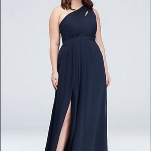 One shoulder dark blue bridesmaid dress